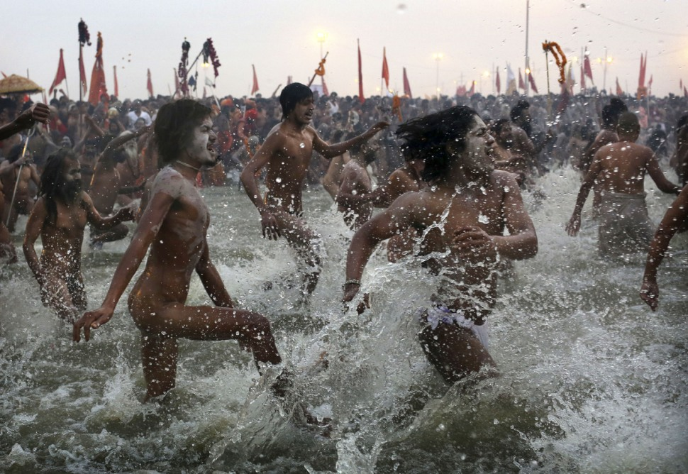 Holy Men Entering the Water for the Maha Kumbh Mela Festival