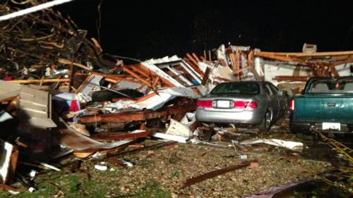 Granbury Tornado Damage, photo from NBCDFW website