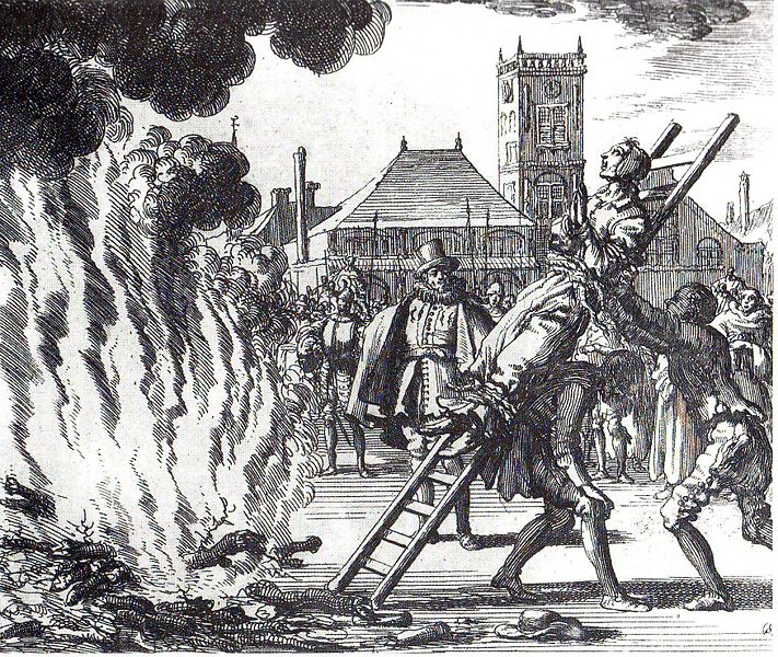 Jan Juken drawing of a heretic being burned at the stake (public domain image)