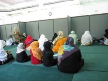 A typical mosque barrier, separating the women and making it impossible to participate fully.