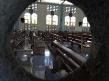 Looking through the lattice work windows into the sanctuary