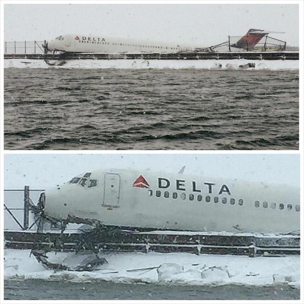 Delta Flight at La Guardia, photo courtesy of NYPD