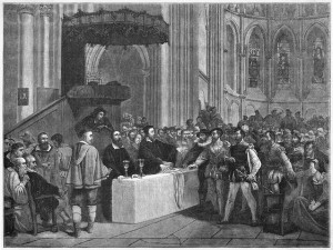 Calvin Refusing The Lord's Supper To The Libertines, In St. peter's cathedral, Geneva. --- Image by © Bettmann/CORBIS
